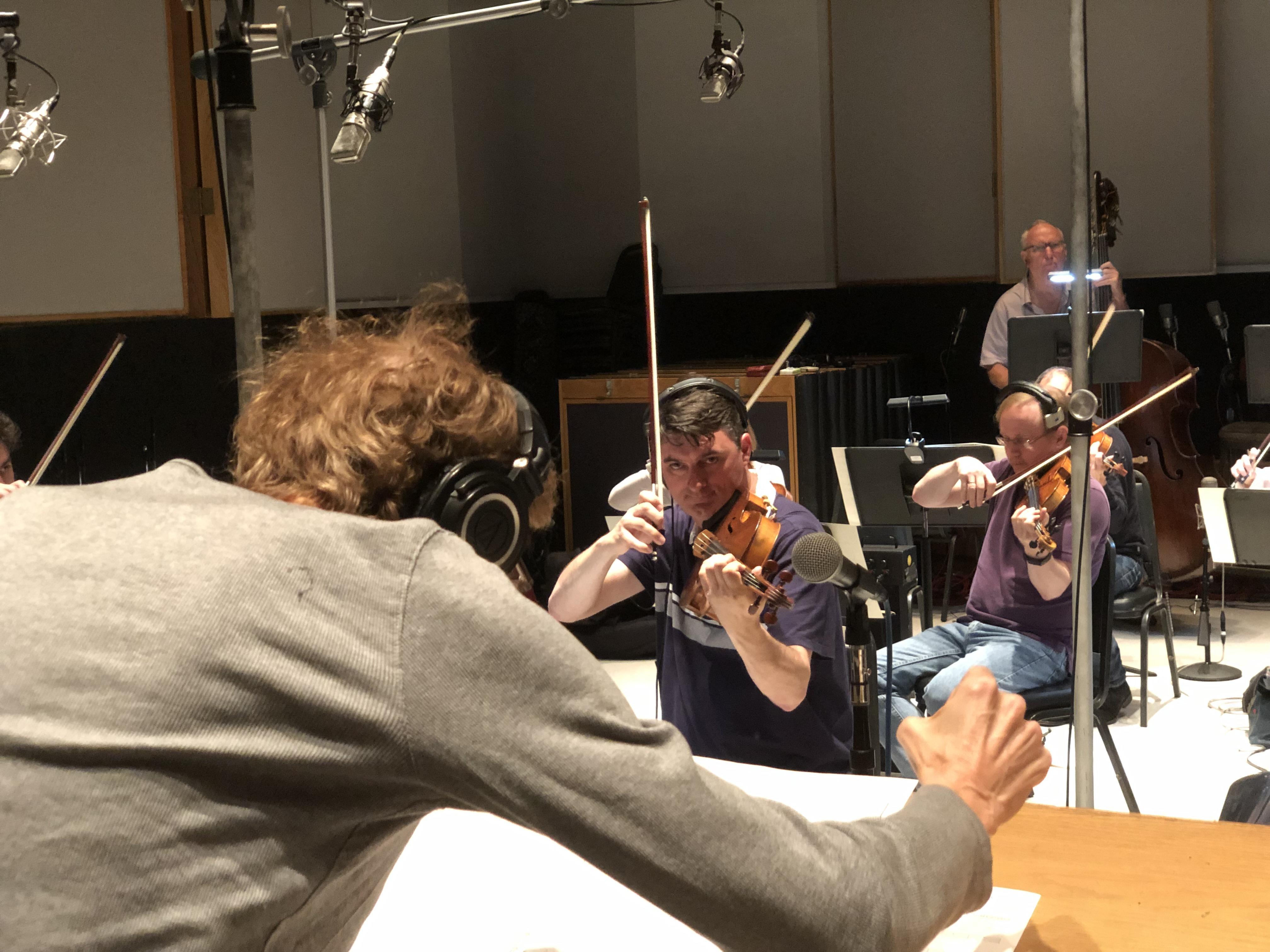 David Campbell conducting at Capitol Studios